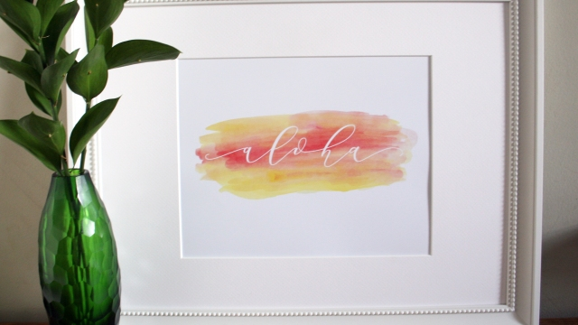 Aloha Hand Lettered Art Print with Watercolors