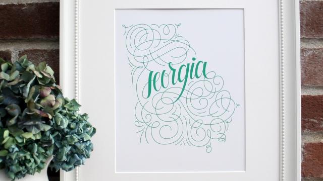 Georgia Home State Love Art Print