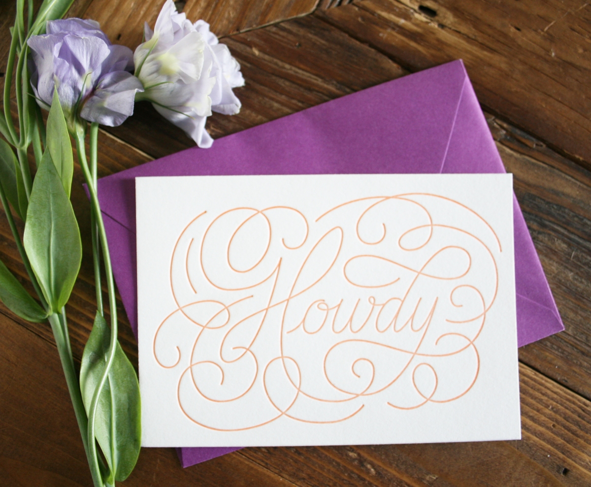 Howdy letterpressed greeting cards pack of 5 with envelopes howdypurple1 kristyandbryce Images