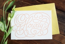 Howdy Letterpressed Greeting Cards, Pack of 5 with Envelopes