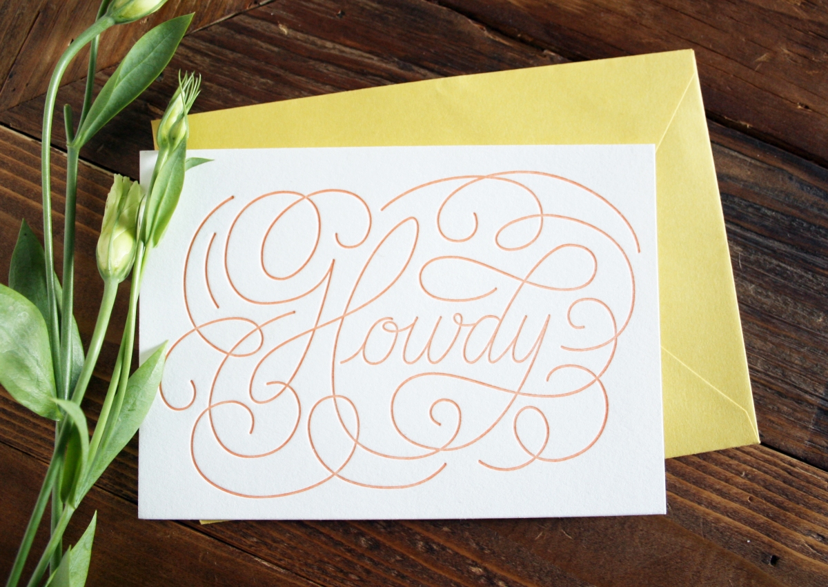 Howdy Letterpressed Greeting Cards Pack Of 5 With Envelopes