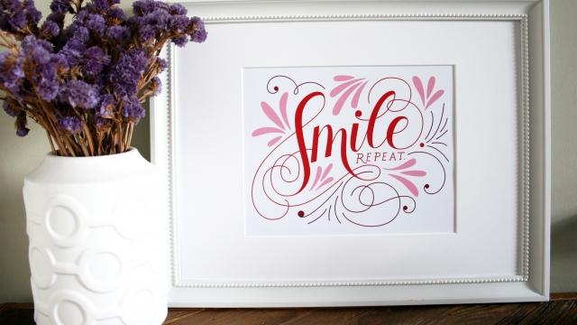 Smile. Repeat. Custom Hand Lettered Art Print