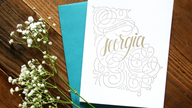 Georgia Home State Love Letterpressed Greeting Cards with Teal Envelope