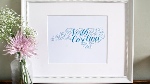 North Carolina Home State Love Art Print